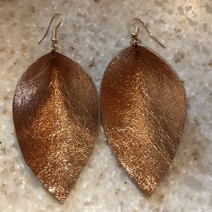 Rose gold genuine leather leaf earrings